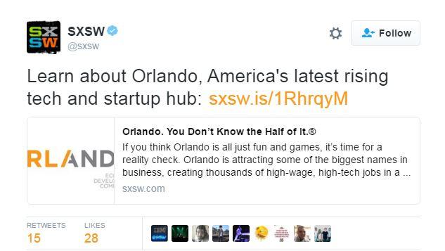 SXSW Orlando Tweet